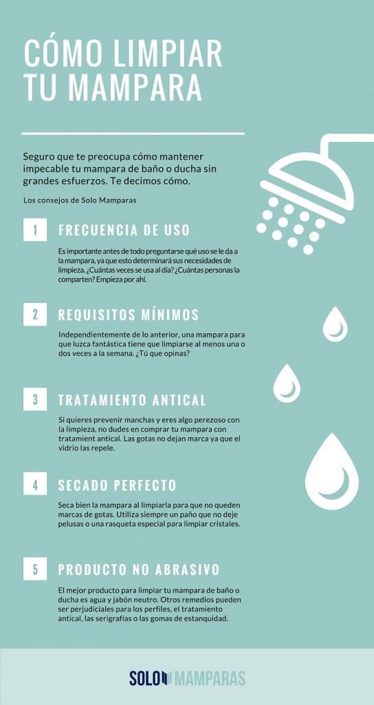 Infografía detallada con consejos para limpiar tu mampara