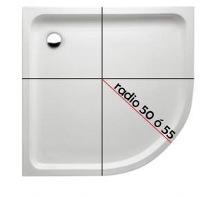 Gráfico para calcular el radio de un plato de ducha semicircular