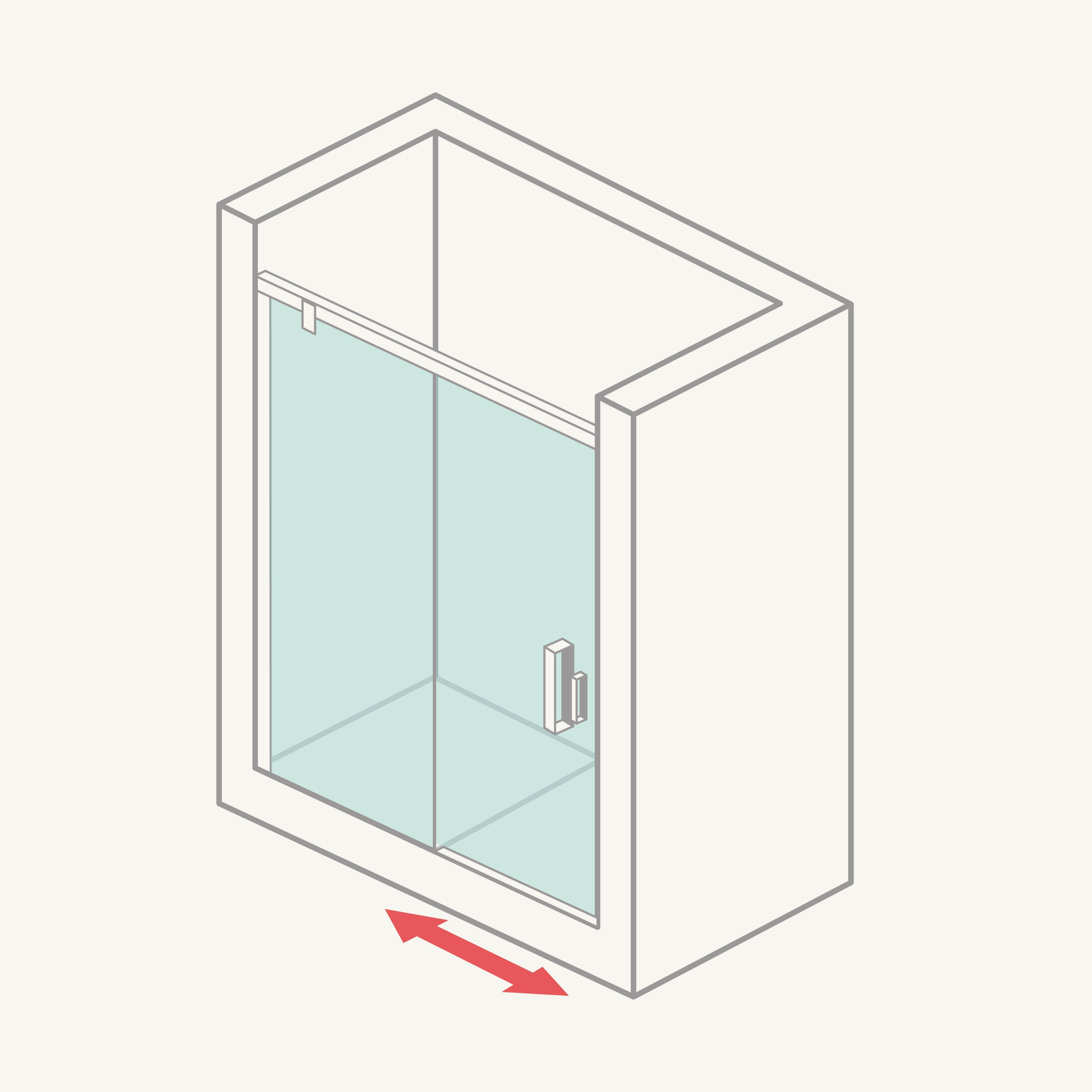 Mampara de ducha frontal (1 fija + 1 corredera)