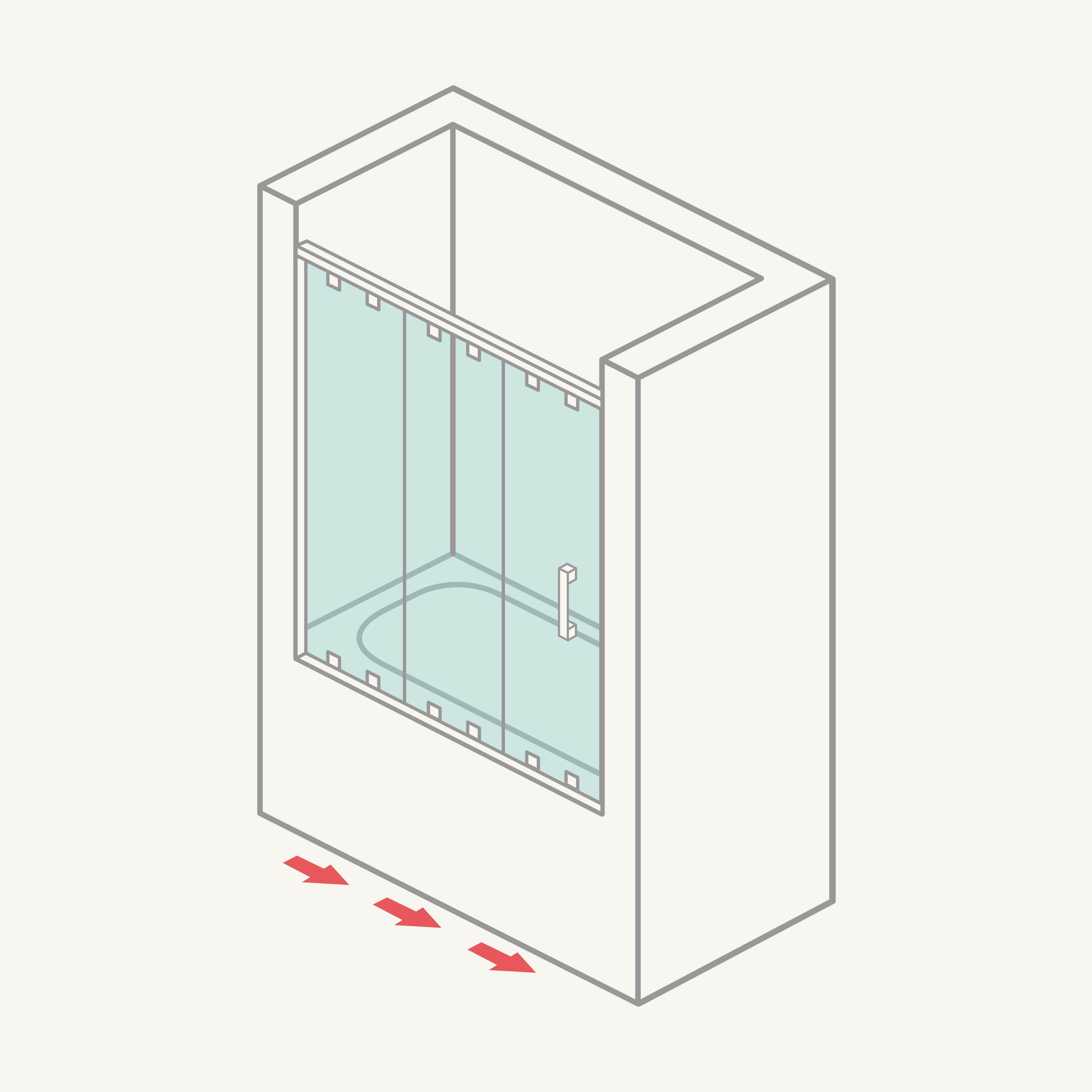 Mampara de bañera frontal de 1 hoja fija y 2 correderas