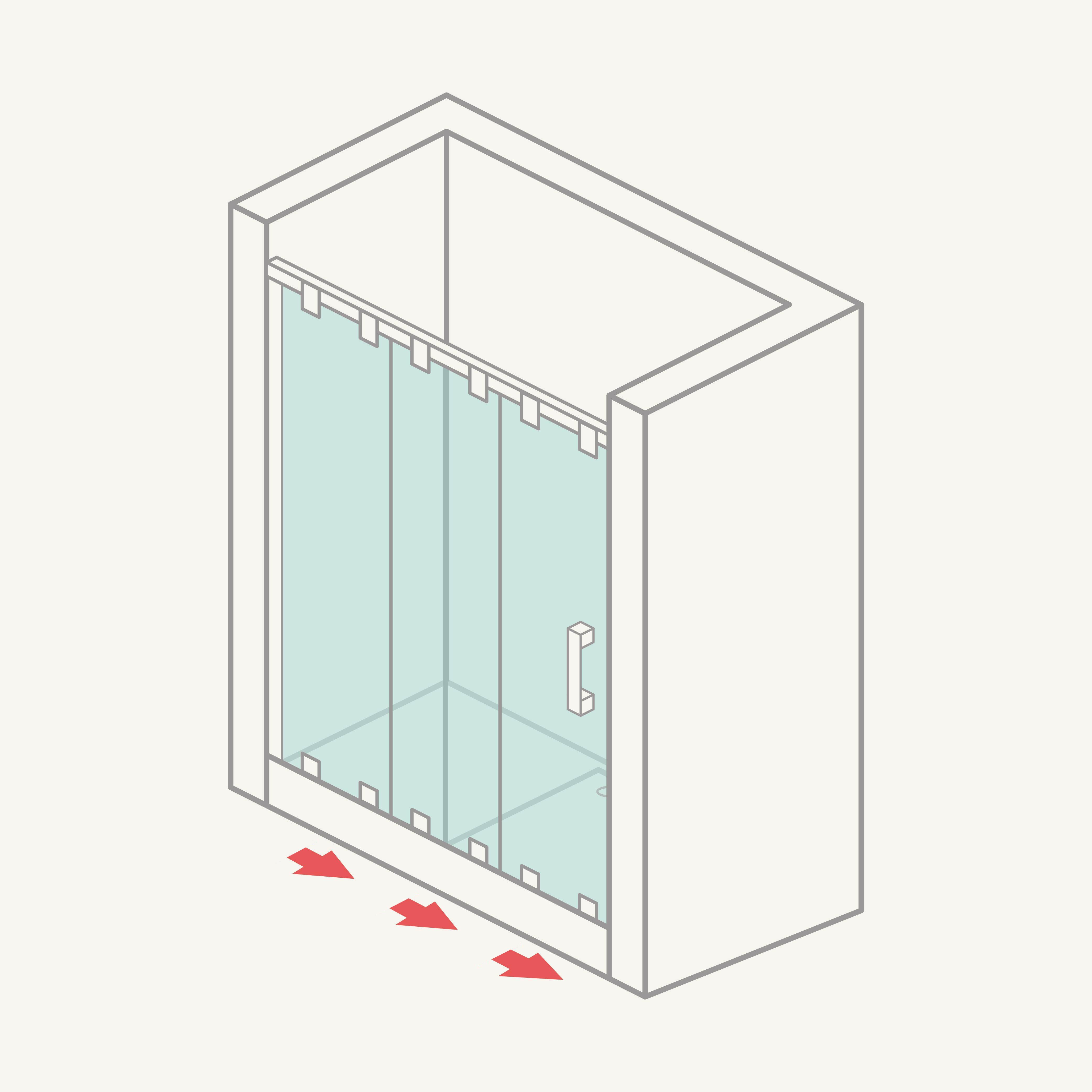 Mampara de ducha frontal de 1 hoja fija y 2 correderas