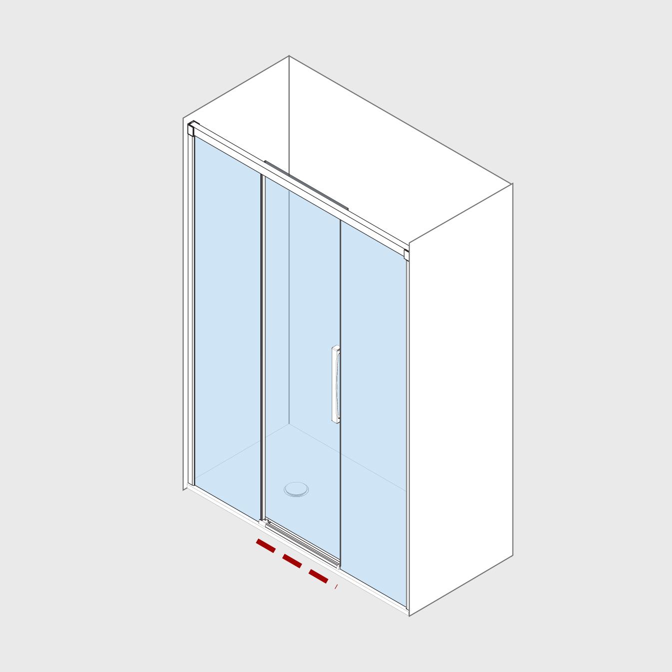 Mampara de ducha Frontal (2 fijas + 1 Corredera central)