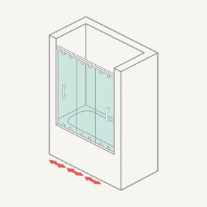 Mamparadebañerafrontal(3hojasy1fija+2correderas)
