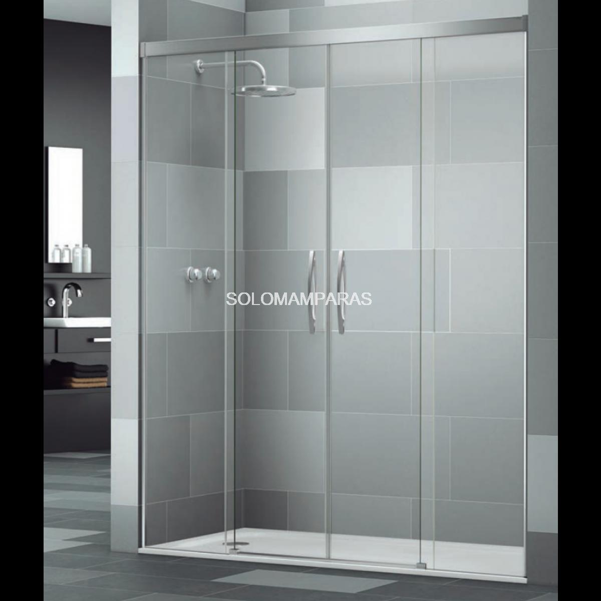 Mampara frontal de ducha elba extra 2 fijas 2 correderas for Mamparas de ducha fijas