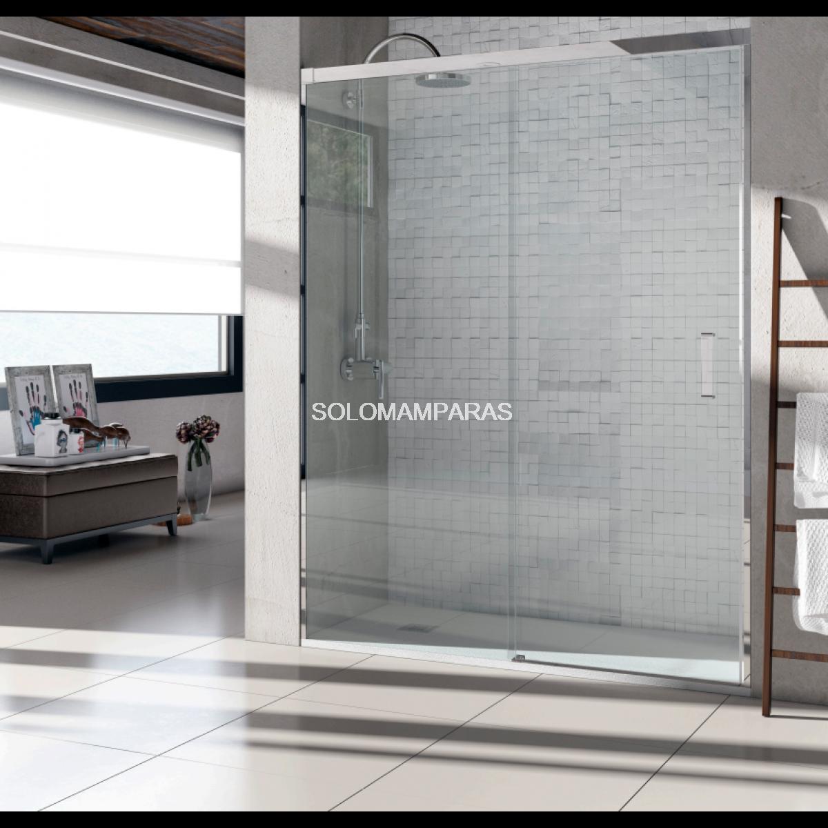 Mampara de ducha light 1fija 1corredera transparente sin for Mamparas de ducha correderas sin perfiles