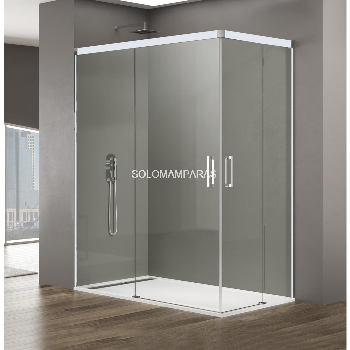 Perfil para puertas de ducha plegables y pared blanco 5 m