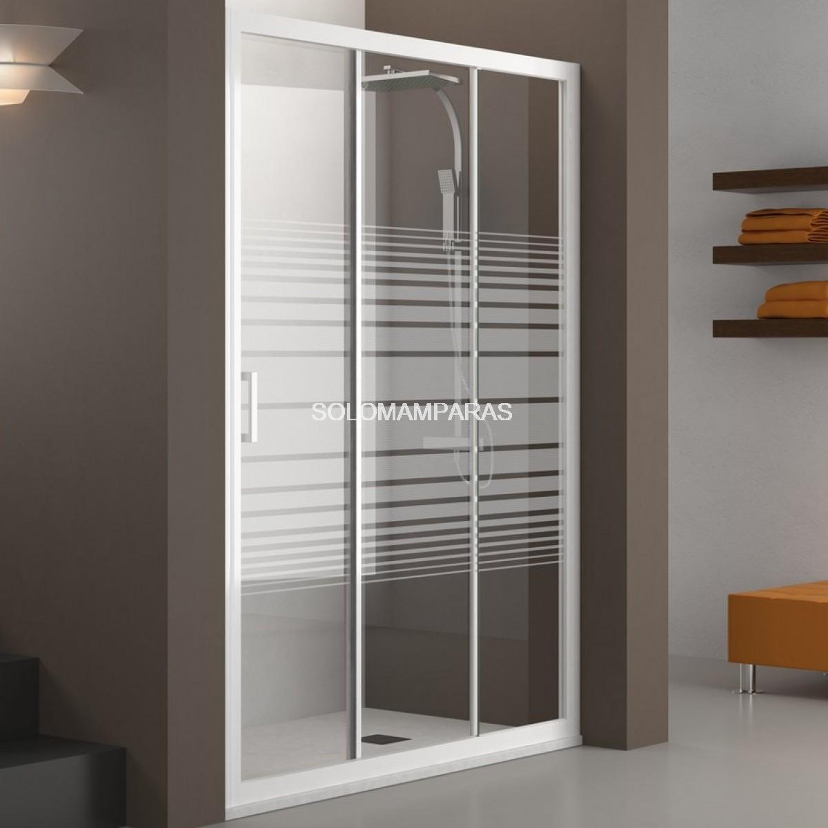 Mampara de ducha nantes blanco rayas 1 fija 2 - Fotos de mamparas de ducha ...