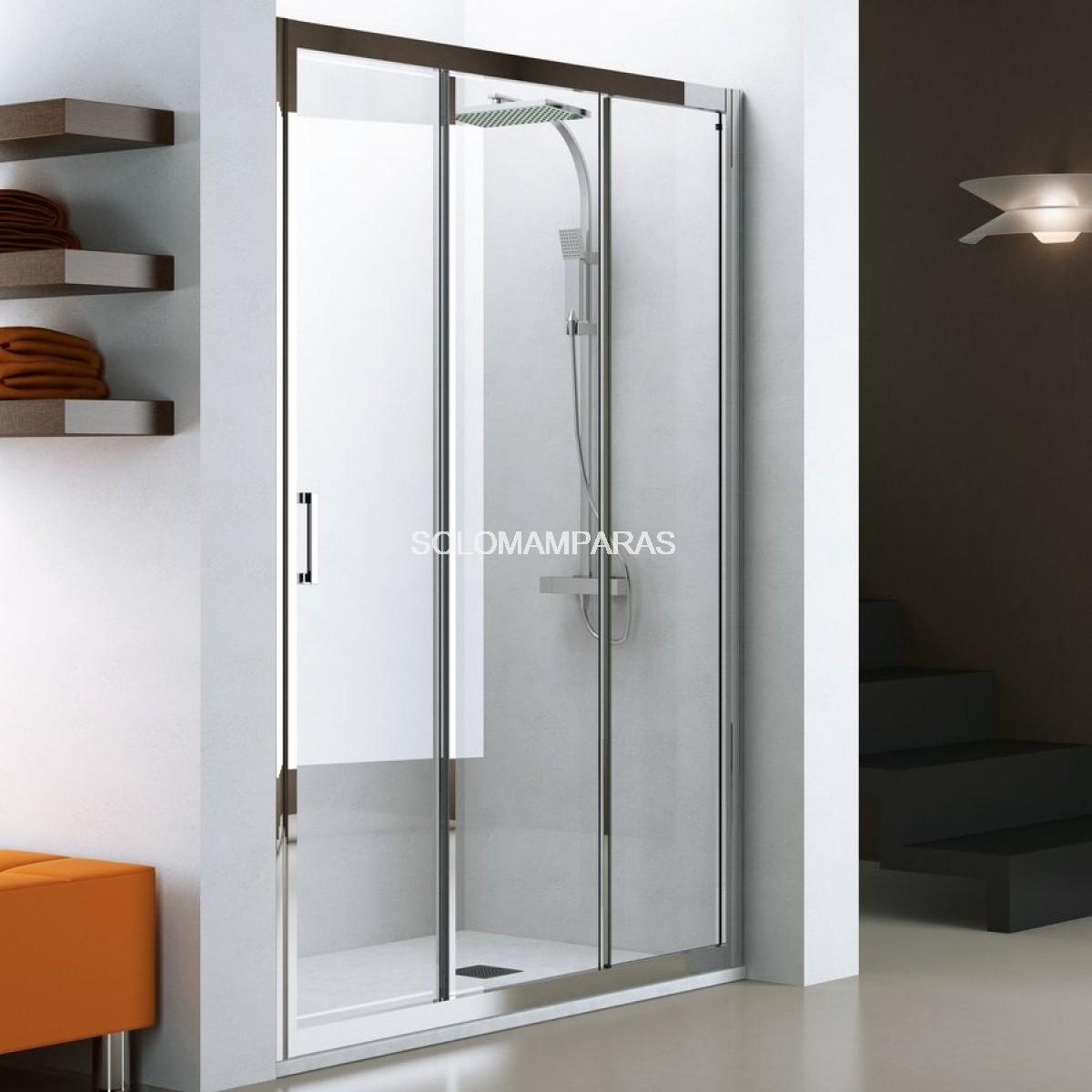 mampara de ducha nantes cromo transparente 1 fija 2