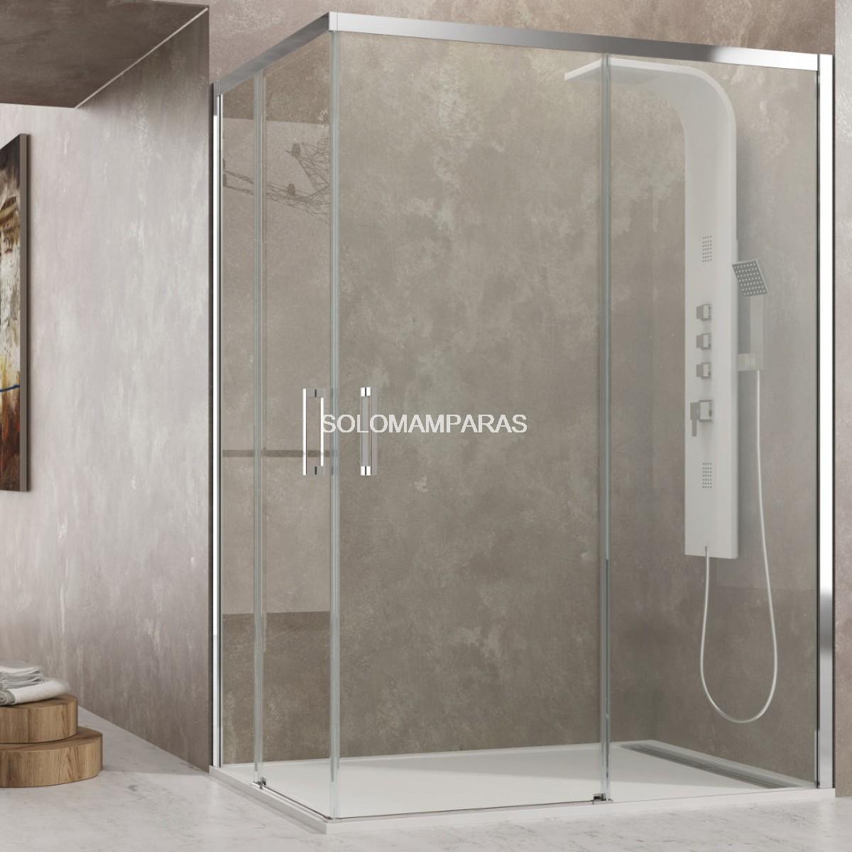 Mampara angular de ducha aktual transparente de gme for Mamparas de ducha fijas