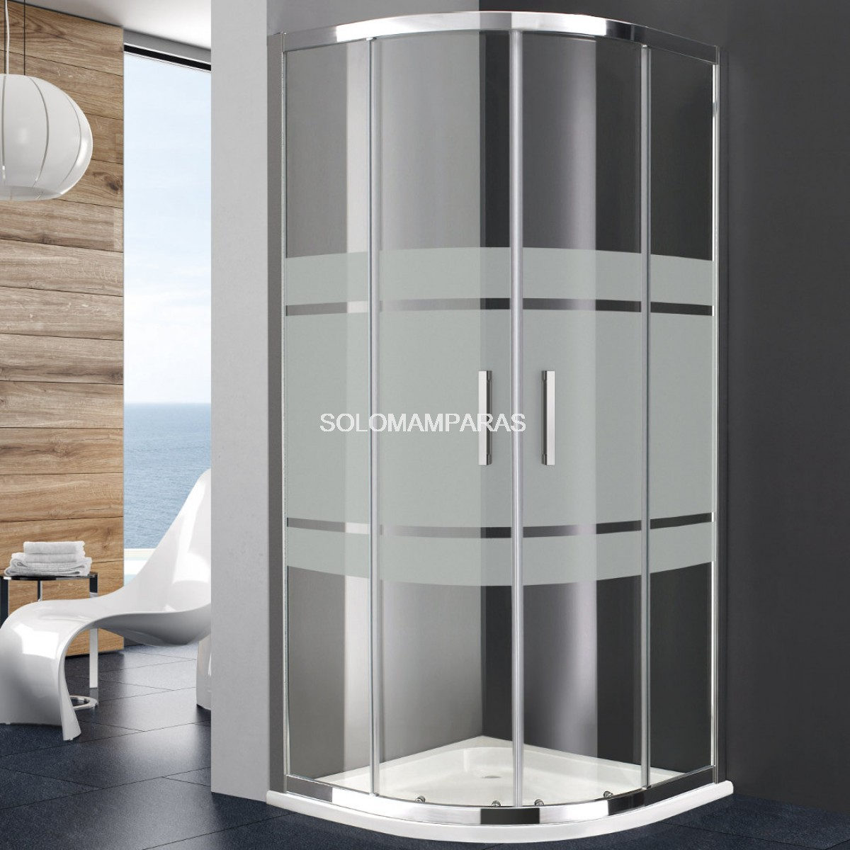 Mampara de ducha GME Titán Trazos semicircular antical