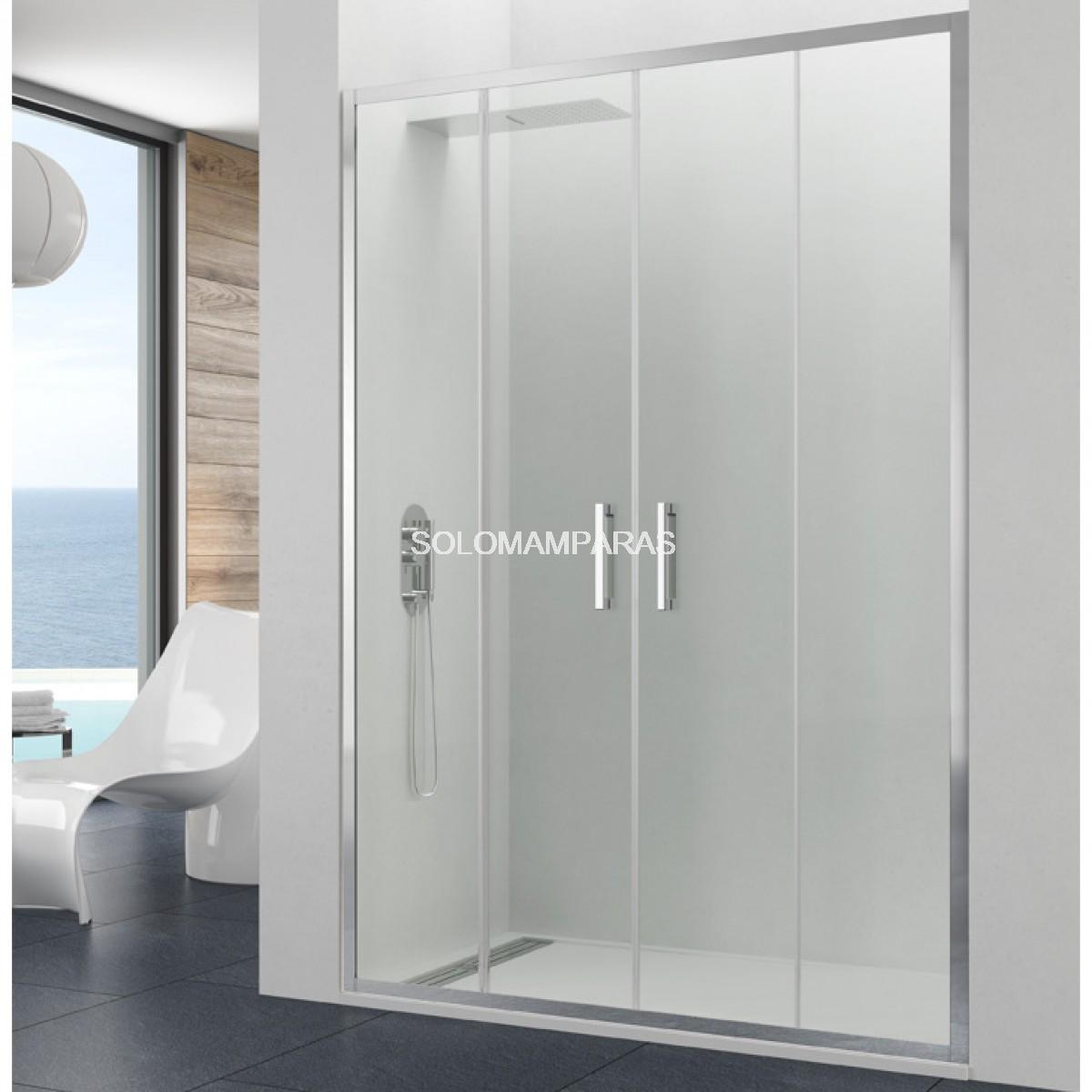 Mampara de ducha gme prestige 2 fijas 2 correderas for Tipos de mamparas para platos de ducha