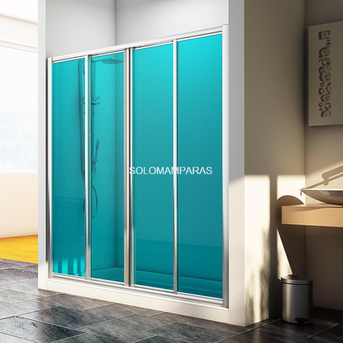 Frontal de ducha mampara sella 2 fijas 2 correderas for Mamparas de bano de acrilico