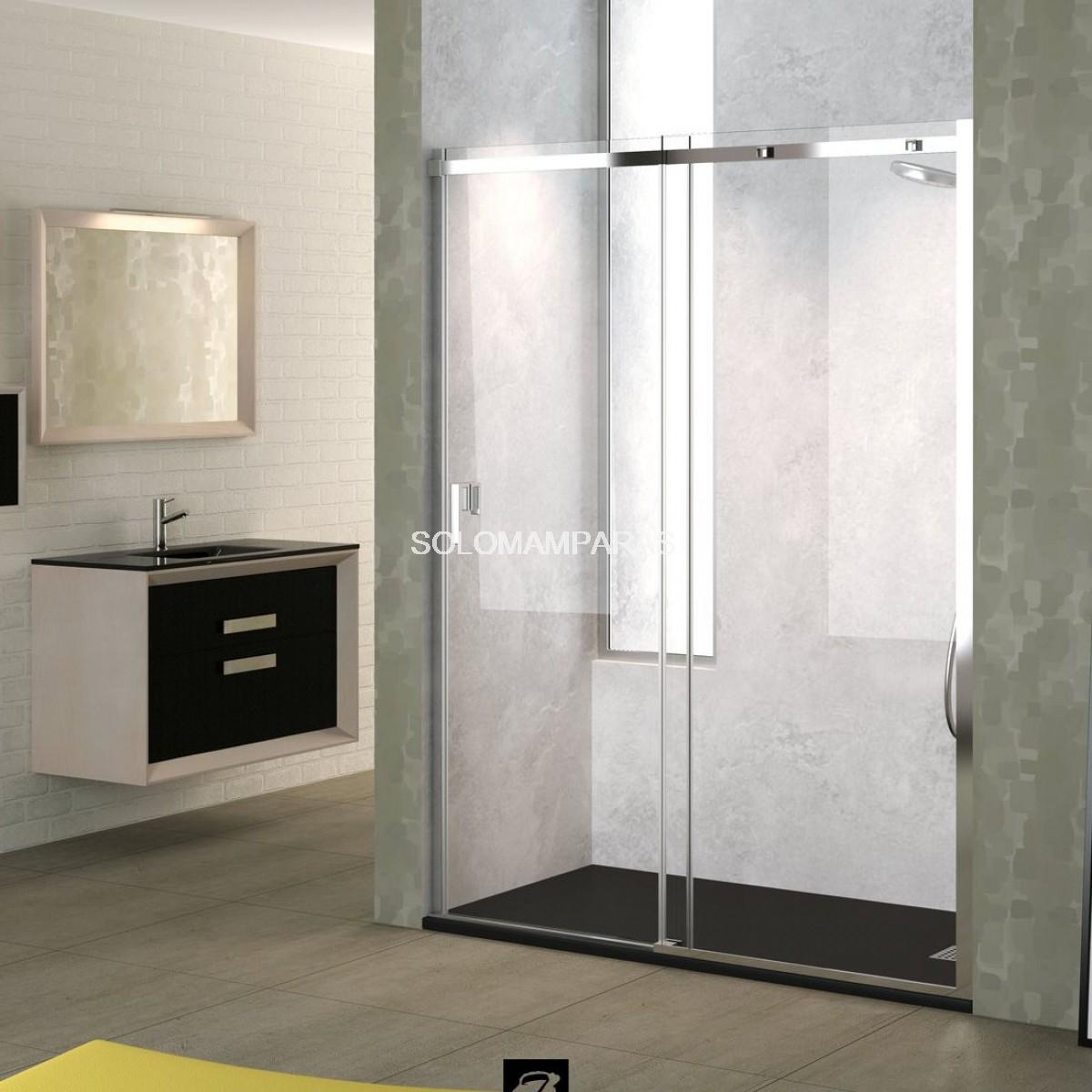 Mampara ducha ebro 8mm perfil cromo 1 fija 1 corredera for Perfil mampara ducha