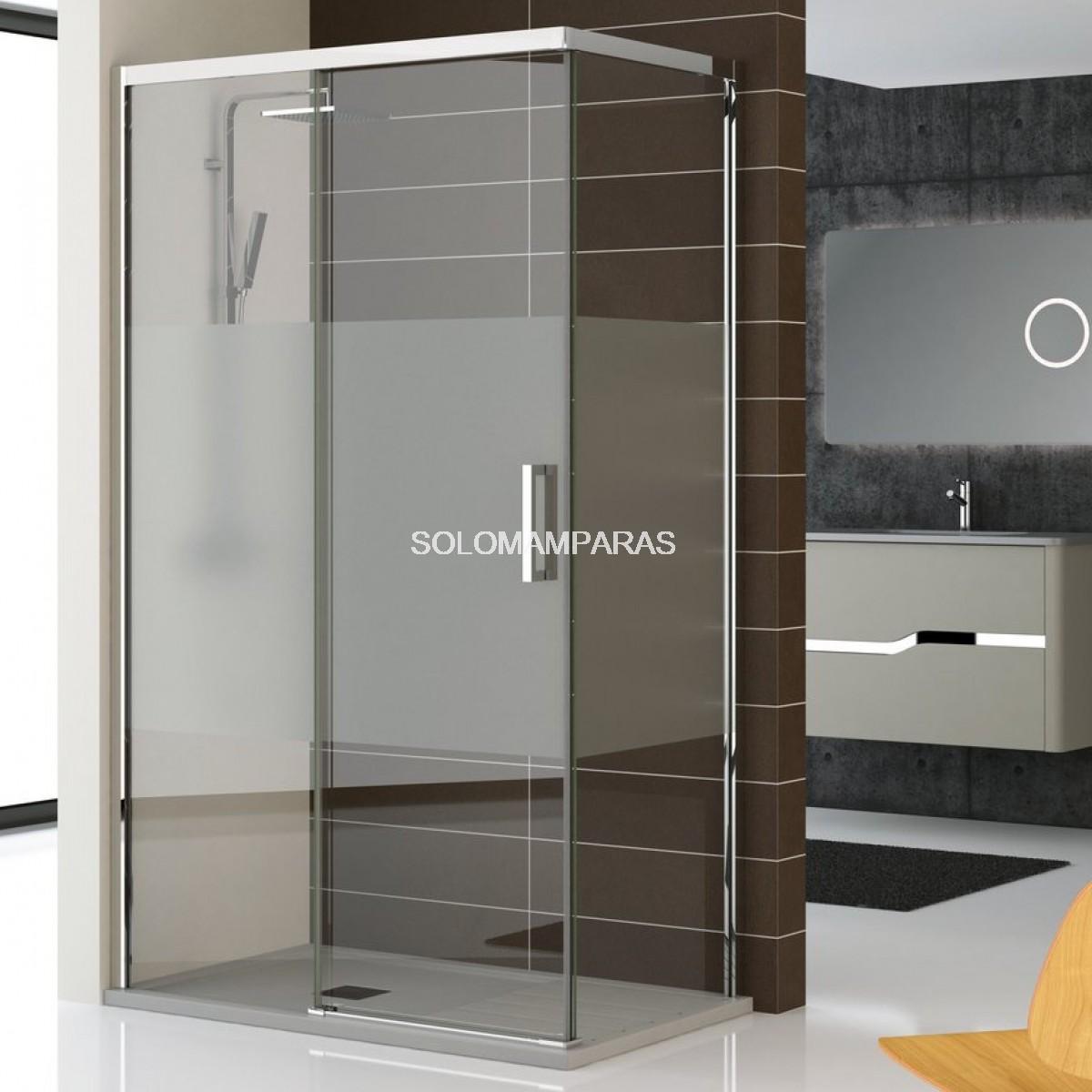 Mampara ducha sin perfil inferior lyon 1fija 1corredera for Mamparas de ducha correderas sin perfiles