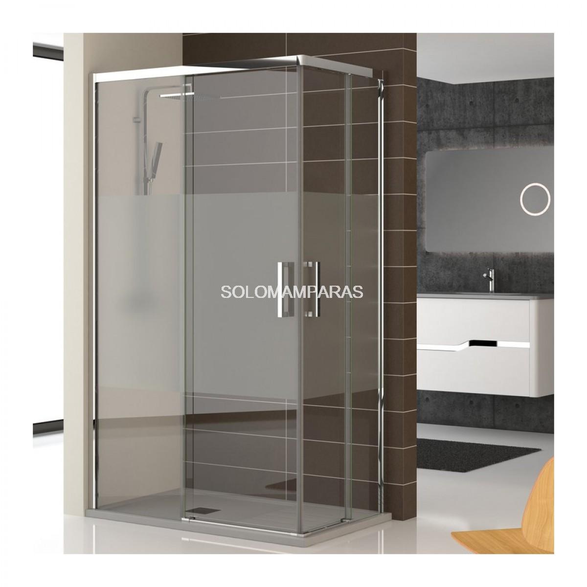 Mampara ducha sin perfil inferior lyon angular 2fijas for Mamparas de ducha fijas