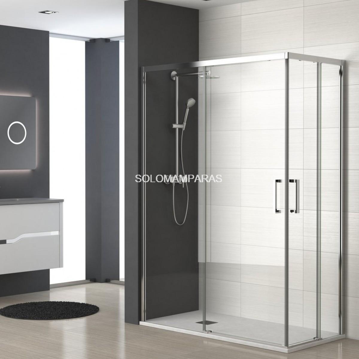 Mampara ducha sin perfil inferior lyon angular 2fijas for Mamparas de ducha correderas sin perfiles
