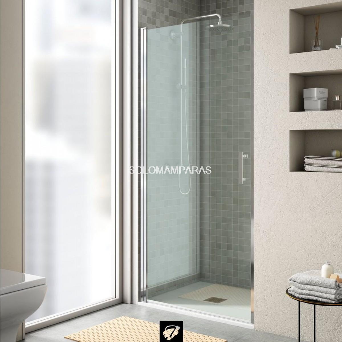 Mampara ducha 1puerta abatible cromo sin perfil - Mamparas de ducha sin perfiles ...