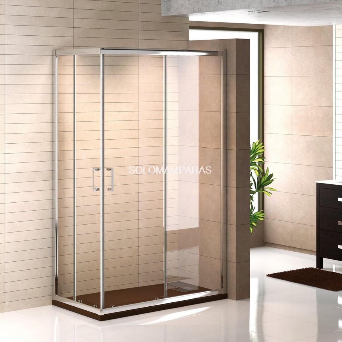 Mampara ducha cromo niza angular 2fijas 2correderas - Mamparas de ducha fijas ...