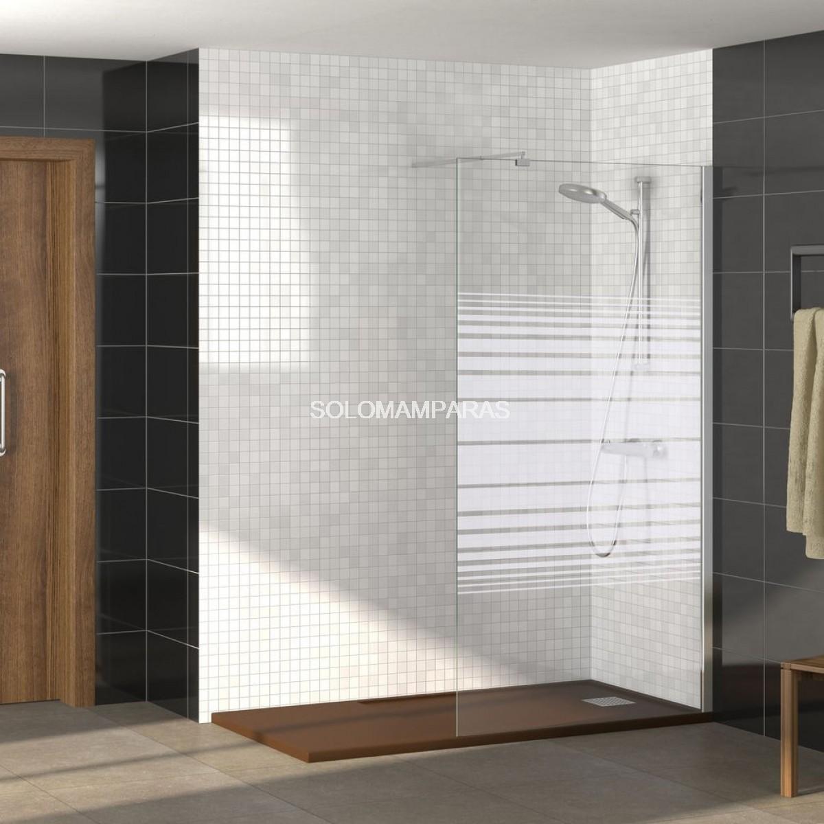 Mampara fijo panel de ducha cromo 6mm rimini - Paneles para banos ...