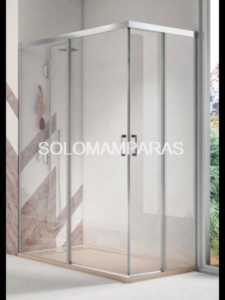 Angular de ducha Mampara Pinet de Torvisco, 2 fijas + 2 correderas