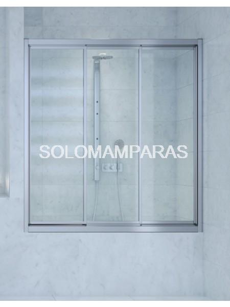 Mampara frontal de bañera Indonesia -Hidroglass- (3 correderas) vidrio templado 4 mm