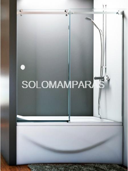 Mampara frontal de bañera Danubio -Hidroglass- (1 fija + 1 corredera) 8 mm