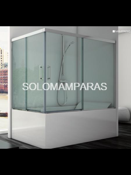 Mampara angular de bañera Mercey -Hidroglass- (2 fijas + 2 correderas) 6 mm