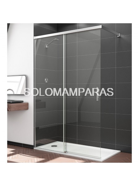 Mampara de ducha elba 1 fija 1 corredera sport a medida for Mamparas ducha a medida