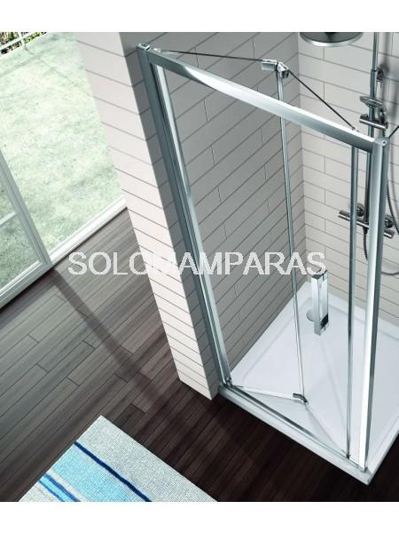 Mampara ducha plegable TR300 Kassandra, 2 hojas plegables con Antical Easy Clean