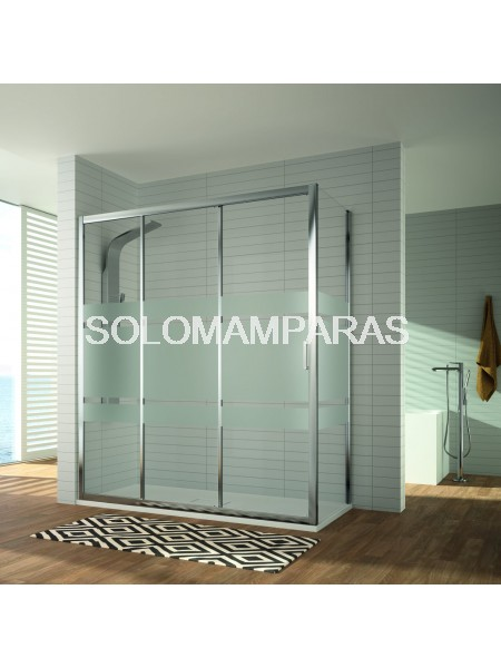 Frontal ducha - Kassandra- Diana (DI101+DI103), 3Hojas (1Fija + 2Corredereas) + lateral fijo, Cromo/ Decorado Bali o transparente
