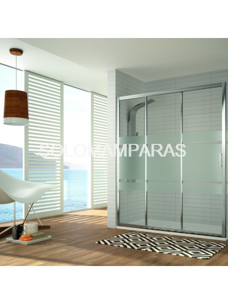 Frontal ducha mampara Diana, 1 fija + 2 correderas (DI101) Cromo/Decorado Bali o transparente -Kassandra-