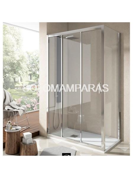 Mampara Ducha Nantes, Perfil Cromo, (1Fija, 2 correderas + Lateral Fijo) Transparente