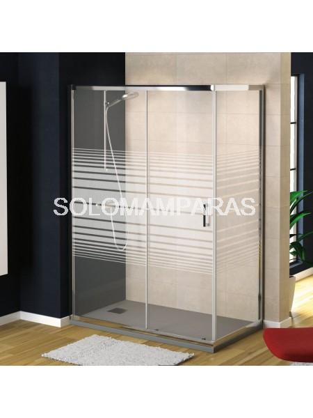 Mampara de ducha Niza (1 fija + 1 corredera + 1 lateral fijo) con serigrafía