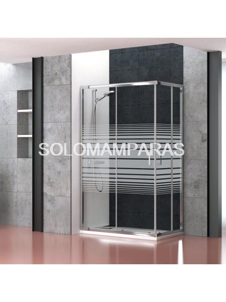 Mampara de ducha angular Niza (2 fijas + 2 correderas) con serigrafía