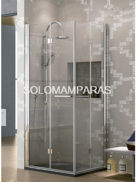 Mampara de ducha angular plegable Lena -Hidroglass- (4 hojas plegables) 6 mm