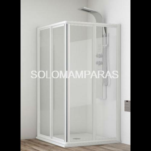 Mampara angular de ducha madeira for Mamparas de ducha fijas