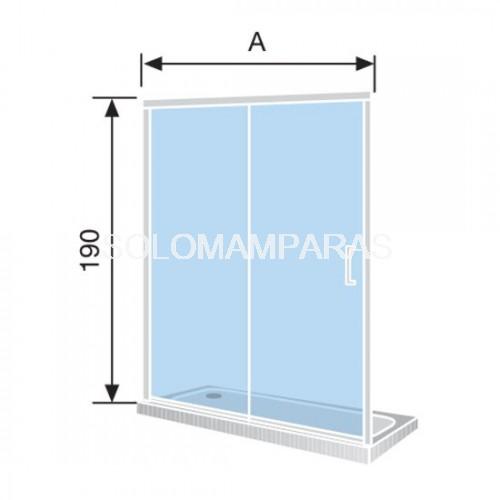 96,5-100,5 cm Cristal de Seguridad de 6 mm Modelo Bella 2 Mampara de Ducha Frontal 1 Hoja Fija y 1 Puerta Corredera