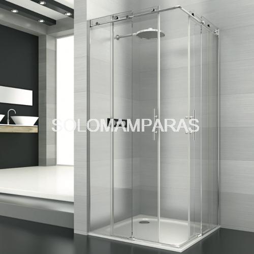 Mampara angular de ducha saina deyban 2 fijas 2 for Mamparas de ducha fijas