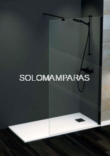 Mampara fija de ducha Rimini -Torvisco- (perfilería negra) 8mm