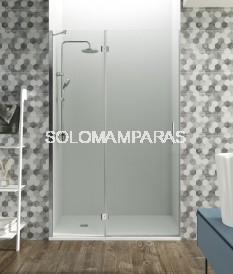 Mampara de ducha Glass -GME- 1 fijo + 1 puerta abatible con cierre imán a pared