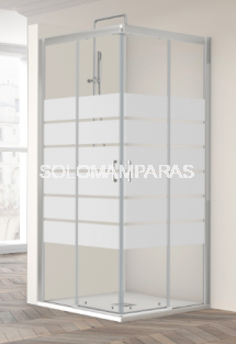 Mampara de ducha Summer Sum-320 -Profiltek- Angular 2 fijas + 2 correderas 6 mm (antical)