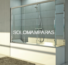 Mampara angular de bañera Cimarrón -Hidroglass- (3 correderas + 1 lateral fijo) 6 mm