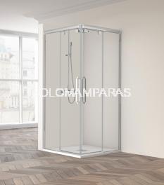 Mampara de ducha angular Vetro 220 -Profiltek- (2 fijas + 2 correderas) 6 mm
