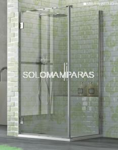 Mampara frontal de ducha Naray -Hidroglass- (1 puerta abatible + 1 lateral fijo) 6 mm