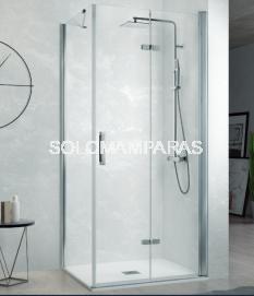 Mampara de ducha Kassandra Nardi (NA307) Transparente (Antical Easy Clean) (2 puertas plegables + 1 lateral fijo)