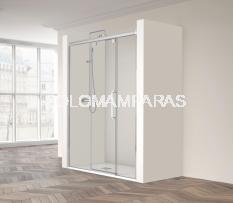 Mampara de ducha Vetro 230 -Profiltek- (1 fija + 1 corredera + 1 fijo frontal) 6 mm