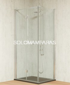 Mampara de ducha plegable Tarim -Hidroglass- (2 plegables) + 1 lateral fijo  6 mm