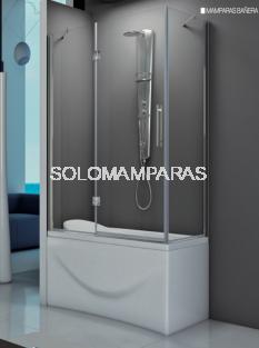 Mampara angular de bañera Amazonas -Hidroglass- (1 fijo frontal + 1 abatible + 1 lateral fijo) 6 mm
