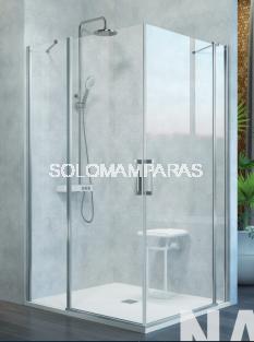 Mampara de ducha angular Kassandra Nardi (NA505) Transparente (Antical Easy Clean) (2 fijas + 2 abatibles)