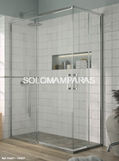 Mampara de ducha angular Yoko - Kassandra- (2 fijas + 2 correderas) 6 mm (antical)
